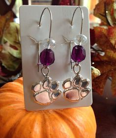 Clemson Tigers Inspired Dangling Tiger Paw Earrings - Silver Plated - Purple Beads - Clear Shiny Glass Beads - Women's Jewelry on Etsy, $14.00