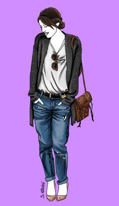 Dieses lässige Jeans-Outfit mit T-Shirt und Strickjacke erzielte die meiste Aufmerksamkeit auf Pinterest.