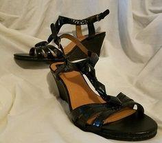 Clarks womens shoes size 8 heels sandals wedges  laguna jewel black leather