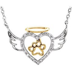 """Sterling Silver .08 CTW Diamond Angel Heart Paw 18"""" Necklace"""