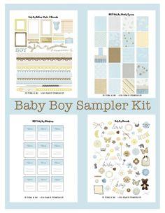 FREE PDF STUDIO printable print and cut files. baby boy sticker images topper label album scrapbook photo album card My Planner Envy: Freebie Friday