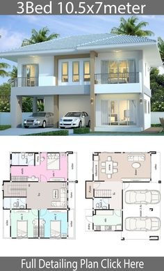 House design plan with 3 bedrooms – Home Design with Plansearch Haus Design Plan mit 3 Schlafzimmern – Home Design with Plansearch House Layout Plans, Bedroom House Plans, Dream House Plans, House Layouts, Two Story House Design, 2 Storey House Design, Bungalow House Design, Double Storey House Plans, Philippines House Design