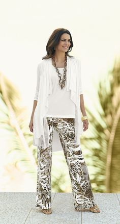What makes these palazzo pants stand out? It's the must-have mix of tropical and animal prints.
