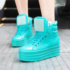 New Women's Crystal Studded High Top Platform Lace Up Sneakers Shoes Boots F42 | eBay