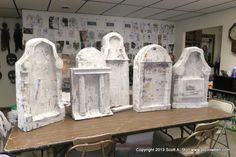 Paper Mache Tombstones | STEP THREE: After the papier mache strips had dried thoroughly it was ...