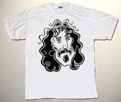FRANK ZAPPA cartoon 5 CUSTOM ART UNIQUE T-SHIRT  Each T-shirt is individually hand-painted, a true and unique work of art indeed!  To order this, or design your own custom T-shirt, please contact us at info@collectorware.com, or visit  http://www.collectorware.com/tees-frankzappa_andrelated.htm