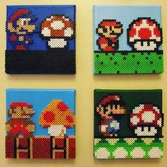 Mario evolution perler beads by  josephexplosiv