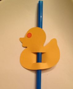 Rubber Ducky Party Straw Flag - Set of 8