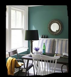 The Accent Wall Paint Color Is Benjamin Moore Mayo Teal Cw