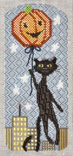 BACKGROUND -- Pumpkin Balloon Needlepoint Eyeglass Case by Kirk & Bradley. Stitched beautifully by Robin King!