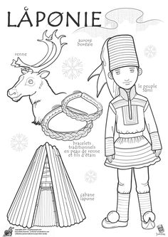 Paper doll to color, Lapland region: northern Finland) Countries Of The World, World Cultures, Colouring Pages, Coloring Books, Reindeer Craft, Kids Around The World, World Geography, Thinking Day, Samar