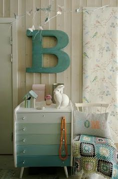 """""""Ombre"""" end table keeps it calm but interesting with color...could hand dye yarn to match then wrap the letter. vintage linens...creamy backdrop. subtle and surreal."""
