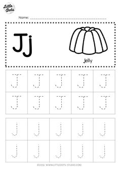 Free Letter J Tracing Worksheets Pre K Worksheets, Letter Worksheets For Preschool, Alphabet Tracing Worksheets, Preschool Writing, Tracing Letters, Preschool Letters, Preschool Learning, Kindergarten Worksheets, Kindergarten Class