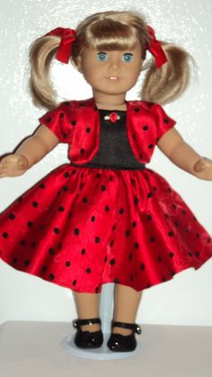 American Girl doll clothes  Red dress Jacket & by susiestitchit, $18.00