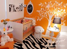 I just love the colors of this baby room!
