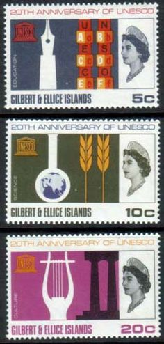 Postage Stamps UNESCO 1966 Gilbert and Ellice Islands Set Fine Mint Other European and British Commonwealth Stamps HERE!
