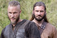 Travis Fimmel (Ragnar) and Clive Standen (Rollo) from Vikings. Wonder if the real Norsemen were this ridiculously good looking.