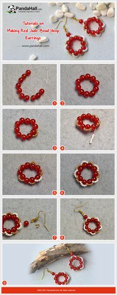 How to Make Red Jade Bead Hoop Earrings The earrings made of red jade beads and seed beads have a shape of flowers. The perfect way of threading beads makes the earrings more delicate!