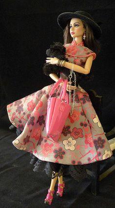 Silk dress inspired by a Prada dress, in Japanese kimomo silk. Barbie I, Barbie World, Barbie Dress, Barbie Clothes, Doll Dresses, Barbie Outfits, Barbie Stuff, Black Barbie, Vogue Fashion