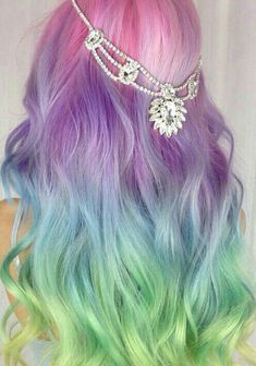 Unicorn Hair extensions, clip in pastel hair extensions, full set unicorn mermaid hair, pink hair clips, human hair - Rainbow Dyed Hair, Rainbow Pastel, Rainbow Hair Colors, Hair Colours, Pastel Colours, Dyed Hair Pastel, Unicorn Hair Color, Dye My Hair, Mermaid Hair