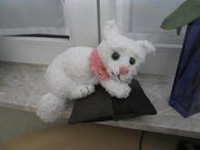 Katze, liegend, 25 - 30 cm, gehäkelt