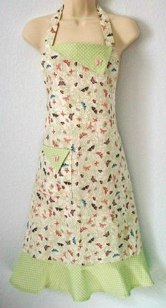 Pastel Retro Butterfly Print Full Apron / Green by Eclectasie, $28.00