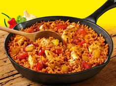 Old El Paso Chilli and Garlic One Pan Rice Meal - free on slimming world extra easy. Substitute peppers with any veg. Have also heard it's great with prawns.