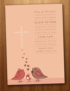 Baby Boy or Girl Baptism Invitation with Birds on #Etsy! 15% off too.