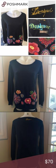 """DUSIGUAL Metallic Embroidered Patch Gem Sweater Practically Unworn Preowned Condition! """"Jumper Martina"""" style still featured on their website  Metallic Navy Blue Viscose Knit with floral patches and embroidered details with rhinestone accents, embroidered logo, ribbed cuffs.  Women's Size Large (measurements will be posted later today!) Disigual Sweaters Crew & Scoop Necks"""