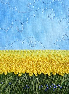 She created perspective by using different sizes of French knots    My Sweet Prairie: Saturday Stitches