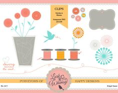 Stitches and Blooms Clipart Set Digital Scrapbook by LarkandWhimsy, $5.00
