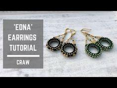 Necklace Tutorial, Earring Tutorial, Small Earrings, Women's Earrings, Tatting Jewelry, Beaded Jewelry, Beading Tutorials, Beading Ideas, Right Angle Weave