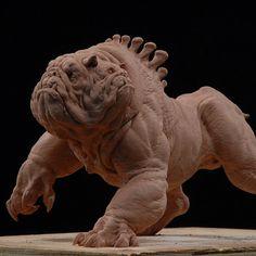 Really cool creature sculpt 'Yrdrig' by sculpture artist Dave Grasso. Love the design and detail on this one, especially the folds of skin. --- #davegrasso #yardig #bulldog #boxer #hellhound #threeheadeddog #fluffy #godofwar #Mythology #monster #creaturedesign #sculpt #spfx #sfx #specialFX