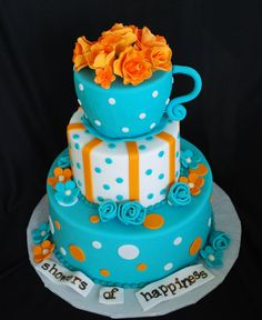 Showers of Happiness for this lucky bride-to-be. The teacup was handsculpted red velvet cake filled with cream cheesefrosting and topped wi. Crazy Cakes, Fab Cakes, Polka Dot Cakes, Sour Cream Pound Cake, Bridal Shower Cakes, Cake Servings, Eat Dessert First, Cakes And More, Themed Cakes