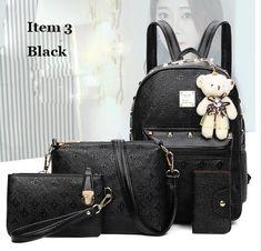 d332ee22c9f9 COUGINM Fashion Composite Bag Pu Leather Backpack Women Cute Bear Set  Shoulder