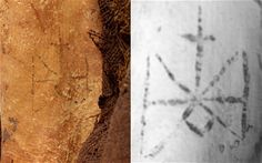 Tattoo symbol of the Archangel Michael found on a mummified woman that dates back to AD 700 who lived on or around the Nile in a Christian community. Picture on left is of her mummified skin and the one on the right is a CAT Scan of her tattoo.