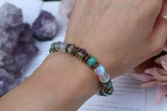 Angel aura crystal bracelet in matt with turquoise Czech glass and sparkly crystal beads. A beautiful protection bracelet with frosty angel aura quartz.