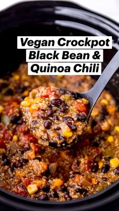 Tasty Vegetarian Recipes, Vegan Dinner Recipes, Veg Recipes, Vegan Dinners, Whole Food Recipes, Cooking Recipes, Vegan Chili Recipes, Vegan Crockpot Chili, Recipes For Vegetarians