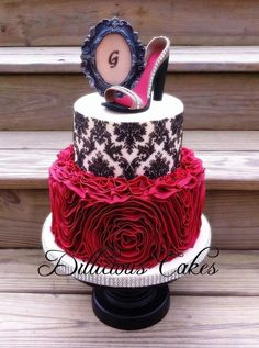 Gracie's Cake. Fondant ruffles, shoe, and frame. By Dillicious Cakes.
