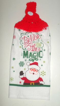 Crochet Top Christmas Towel  Believe In Magic by CarriesCraftStore