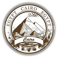 Cairo Egypt Travel Grunge Rubber Stamp Art Decor Bumper Sticker 5 x 5 *** Want to know more, click on the image.Note:It is affiliate link to Amazon. #50likes