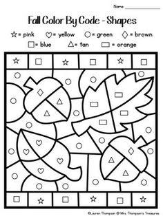 Color By Code Kindergarten Bundle Bible Activities For Kids, Bible For Kids, Preschool Activities, School Worksheets, Kindergarten Worksheets, Worksheets For Kids, Kids Learning, Learning Shapes, Thanksgiving Worksheets