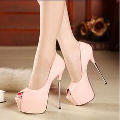 Sexy Womens Nightclub Open Toe Super High Metal Heel Stilettos Platform Shoes Sz