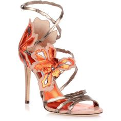 Lolita 100 Orange Metallic Sandal ($1,175) ❤ liked on Polyvore featuring shoes, sandals, beige, orange sandals, ankle strap high heel sandals, flower sandals, jimmy choo sandals and leather shoes