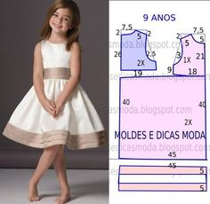 Mod@ en patterns for dress sewing ( Dresses for girls).Dress for a girl of 9 yearsCould do similar with first day dress patternComments on the topic Little Dresses, Little Girl Dresses, Girls Dresses, Kids Dress Patterns, Clothing Patterns, Sewing For Kids, Baby Sewing, Fashion Kids, Dress Anak