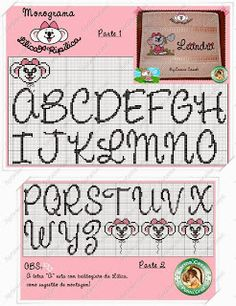 Cross stitch alphabet, several cute pattern on this website
