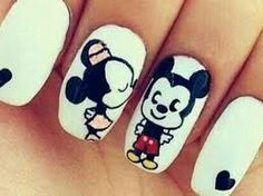 Mickey and minie cute nail art