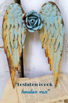 Metal angel wings wall sculpture shabby chic rusty blue distressed cottage home decor Anita Spero Cardboard Painting, Angel Wings Wall, I Believe In Angels, Angel Art, Wall Sculptures, Altered Art, Shabby Chic, Crafty, Angeles