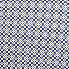 An malerisch-schöne Fliesenwände und Böden in Marrakesch erinnert die detailreiche Bio-Baumwolle in azurblau mit Blumenornamenten. Marrakech, Yarn And Needle, Blue, Cotton, Nice Asses