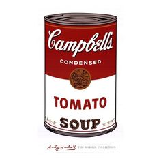 Campbells Tomato Soup. Andy Warhol Art I Love ❤ liked on Polyvore featuring home, home decor, fillers and andy warhol